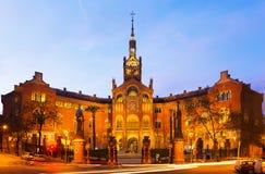 Façade d'Hospital de Sant Pau dans le coucher du soleil Photo stock