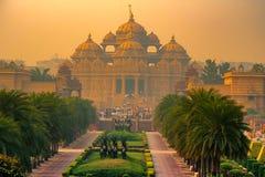 Façade d'un temple Akshardham à Delhi, Inde Photo stock