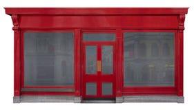 Façade de devanture de magasin avec la vue de face rouge en bois d'isolement sur le fond blanc photos stock