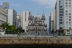 Façade de l'église de Candelária image libre de droits