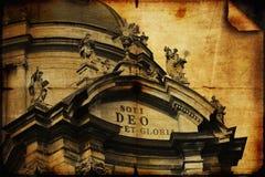 Façade de l'église dominicaine dans la vieille partie de Lviv (stylisé Photos stock