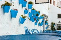 Façade de maison avec des fleurs dans des pots bleus Photo libre de droits