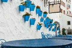 Façade de maison avec des fleurs dans des pots bleus Photo stock