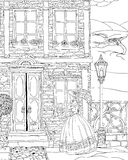 Façade de maison d'imagination illustration stock