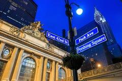 Façade de terminal de Grand Central au crépuscule à New York Photographie stock