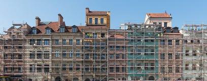 Façade de Varsovie de vieux bâtiments de ville Image libre de droits