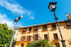Façade du bâtiment au centre historique de Malaga, Espagne photographie stock