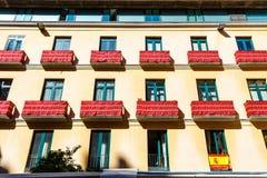 Façade du bâtiment au centre historique de Malaga, Espagne photo libre de droits