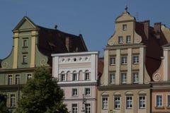 Façade du bâtiment historique au centre de la ville de Wroclaw, Pologne Photographie stock