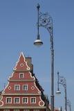 Façade du bâtiment historique au centre de la ville de Wroclaw, Pologne Photo stock