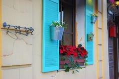 Façade en pierre blanche avec les volets et les fleurs bleus du côté Image stock