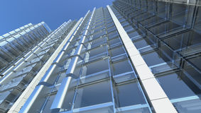 Façade en verre blanc de l'immeuble de bureaux illustration de vecteur
