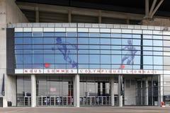 Façade et entrée du stade de Parc Olympique à Lyon, France Photographie stock libre de droits
