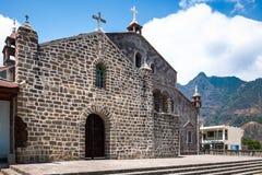 Façade externe à l'église catholique en San Juan La Laguna, Guatemala Photographie stock