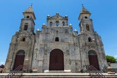 Façade of the Guadalupe Church Iglesia de Guadalupe in Granada, Nicaragua. Central America stock image