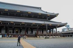 Façade of Higashi Hongan-ji. Travel around Japan. 2013.01.04, Kyoto, Japan. Exterior of the Eastern Temple of the Original Vow. Sights of Japan. Façade of stock image