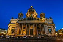 Façade lumineuse de saint Isaac& x27 ; cathédrale de s dans le St Petersbourg, Russie photos libres de droits