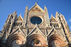 Façade of magnificent marble cathedral in Siena, Italy Royalty Free Stock Photography