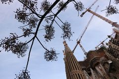 The construction site of the Sagrada Familia originally designed by Antoni Gaudi royalty free stock photography