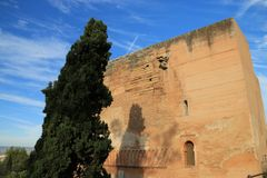 Façade of monument of The historic site of Alhambra , Grenada , Spain. Façade of a monument near The palace of Alhambra , Grenada , Spain royalty free stock photos