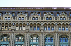 Façade of an old residential building. In New York City stock photography