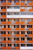 Façade orange de construction de panneau Photos libres de droits