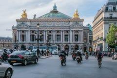 The façade of the Palais Garnier opera house. Famous architecture of Paris. 05.05.2008, Paris, France. The façade of the Palais Garnier opera house stock photo