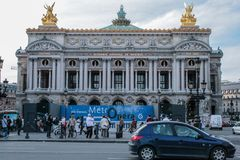 The façade of the Palais Garnier opera house. Famous architecture of Paris. 05.05.2008, Paris, France. The façade of the Palais Garnier opera house stock images