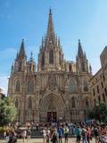 Façade principale de la cathédrale - Barcelone photographie stock libre de droits