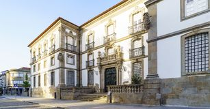 Façade of the public library of Braga Portugal, located in the. Town square stock image