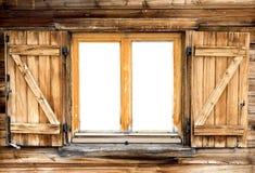 Fenêtre de hutte de montagne d'isolement images stock