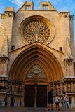 The façade of Tarragona Cathedral during the summer. The façade of Tarragona Cathedral in a sunny day stock image