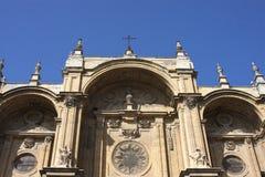 Façade van de Kathedraal van Granada Stock Fotografie
