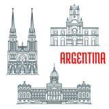 Façades célèbres de vecteur de bâtiments de l'Argentine illustration de vecteur