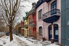 Façades colorées à Montréal image stock