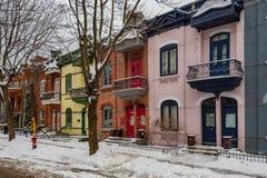 Façades colorées à Montréal photographie stock libre de droits