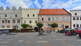 Façades de la Renaissance des maisons dans Slavonice, République Tchèque photographie stock
