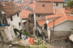 Façades typiques dans Kotor, Monténégro Photos stock