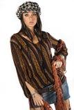 Façonnez à brune la femme modèle style italien sur le blanc Photo stock