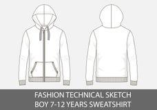 Façonnez à croquis technique pour le garçon 7-12 ans de pull molletonné avec le capot photos libres de droits