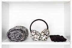 Façonnez à des femmes les accessoires sur l'étagère blanche à l'intérieur du cabinet Photographie stock libre de droits