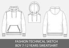 Façonnez à garçon technique de croquis 7-12 ans de pull molletonné avec le capot photos libres de droits