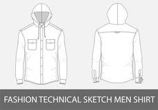 Façonnez aux hommes techniques de croquis la chemise avec le capot dans le vecteur Images libres de droits