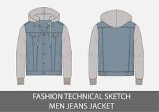 Façonnez aux hommes techniques de croquis la veste de jeans avec le capot photos libres de droits