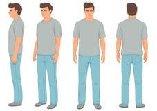 façonnez l'homme d'isolement, l'avant, le dos et la vue de côté, illustration stock