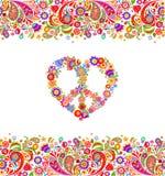 Façonnez la conception avec la frontière sans couture estivale florale colorée et le symbole hippie de fleurs de paix pour la cop illustration stock
