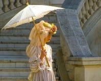 Façonnez la dame avec un argent riche de première qualité de parapluie Images libres de droits