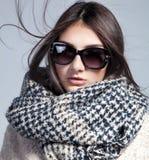 Façonnez la photo des lunettes de soleil, de l'écharpe et du manteau de port de dame Photos libres de droits