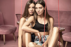 Façonnez la photo des soeurs attirantes de jumeaux de Caucasien posant dans pi Photographie stock