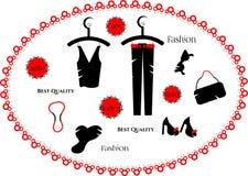 Façonnez la robe, ensemble de perles, chapeau, chaussures de dames, Photographie stock libre de droits